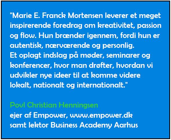 Anbefaling af foredrag af Marie Elisabeth A. Franck Mortensen, CreativeSpaces-fm.com