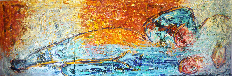 Liggende kvinde, Maleri - Reclining woman, painting