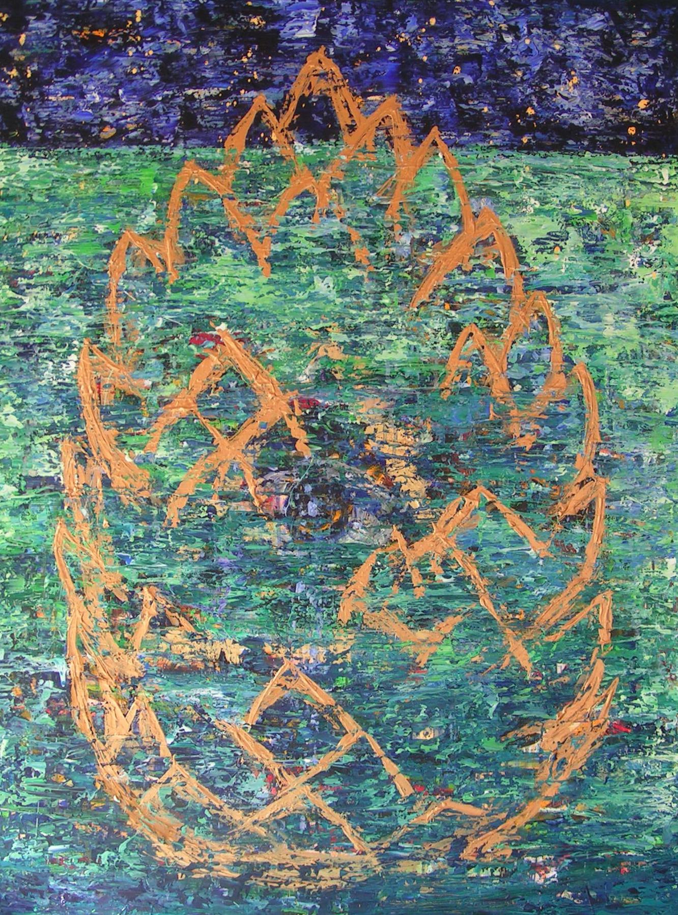 """""""Kogle 1"""" - Maleri af Marie Elisabeth A. Franck Mortensen, akryl på lærred, 100cm x 150cm."""