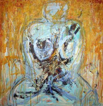"""""""Orange kvinde"""" - Maleri af Marie Elisabeth A. Franck Mortensen, akryl på lærred, 100cm x 100cm."""
