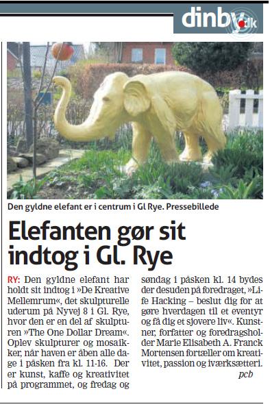 """Omtale i Ugebladet Skanderborg af den gyldne elefant hos """"De Kreative Mellemrum"""""""