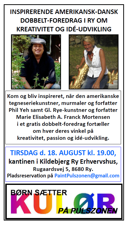 """Dobbelt-foredrag med Phil Yeh og Marie Elisabeth A. Franck Mortensen fra """"De Kreative Mellemrum"""""""