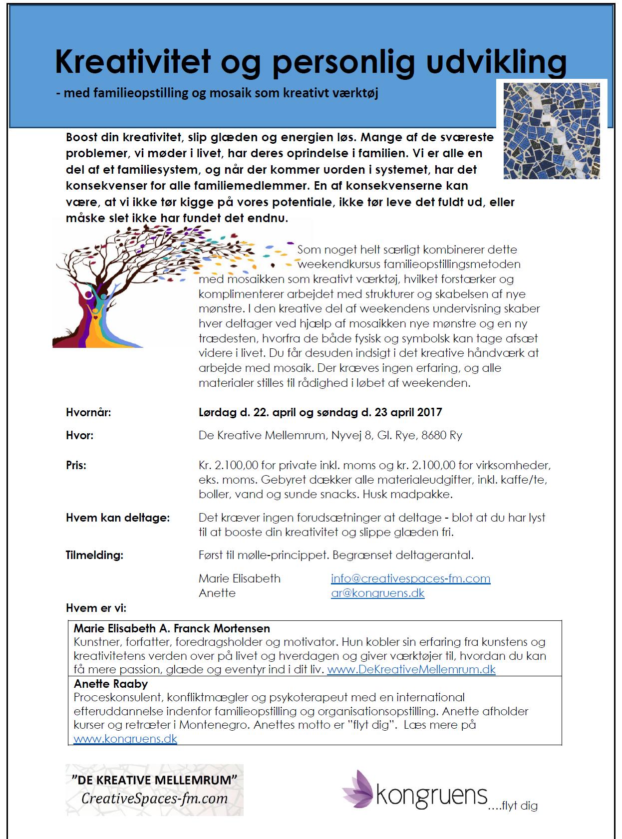 Weekendkursus om kreativitet og personlig udvikling