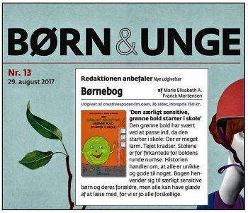 """Anbefaling af billedbogen """"Den særligt sensitive, grønne bold starter i skole"""" i BUPL's blad """"Børn & Unge""""."""