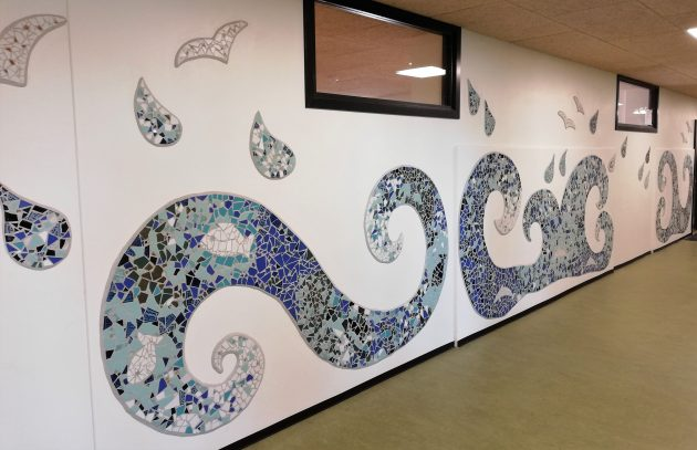 Latest mosaic mural assignment, Nørre Snede School, Denmark. Artist: CreativeSpaces-fm.com, Denmark.